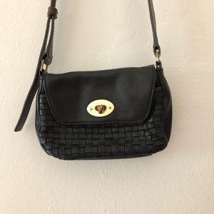 J crew small woven leather crossbody purse